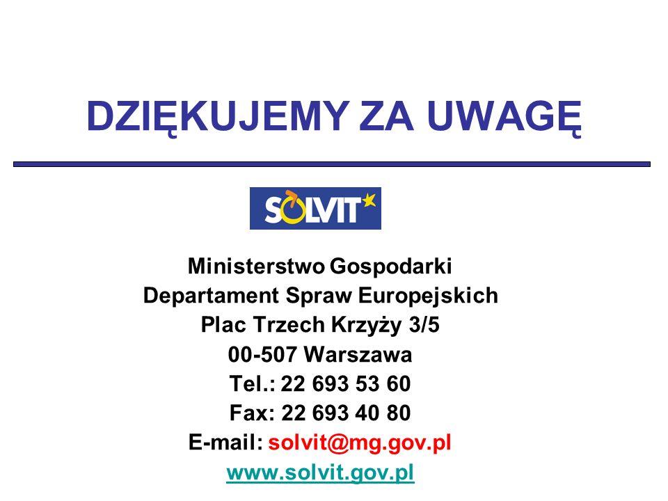 DZIĘKUJEMY ZA UWAGĘ Ministerstwo Gospodarki