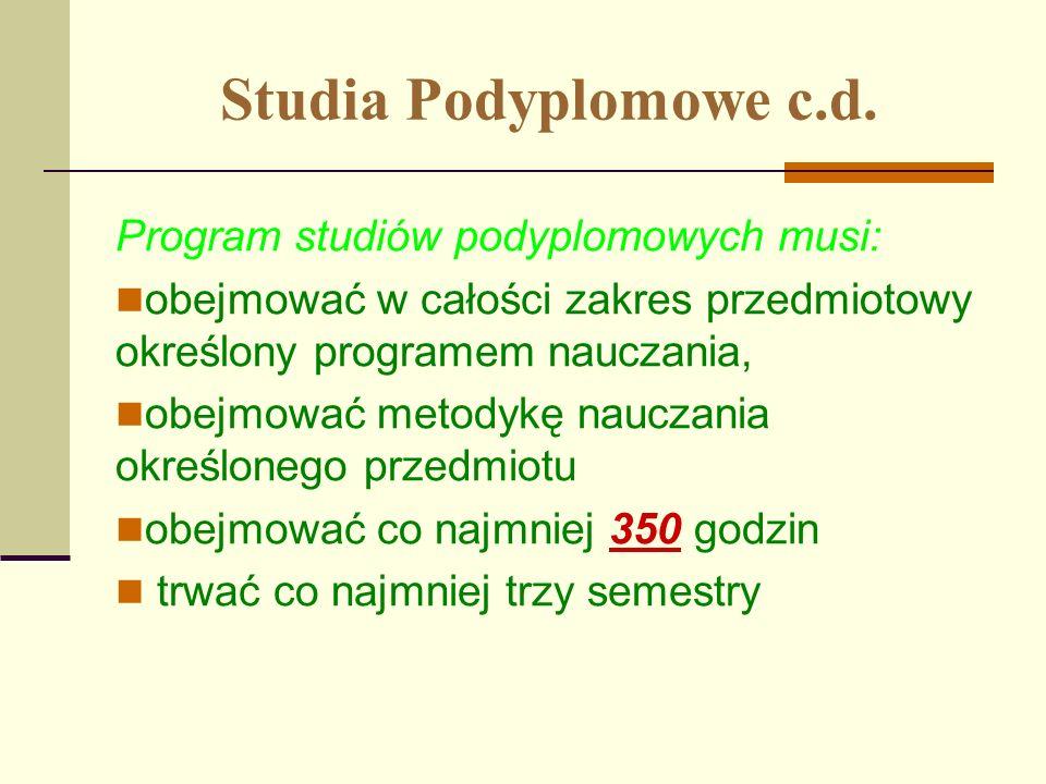 Studia Podyplomowe c.d. Program studiów podyplomowych musi: