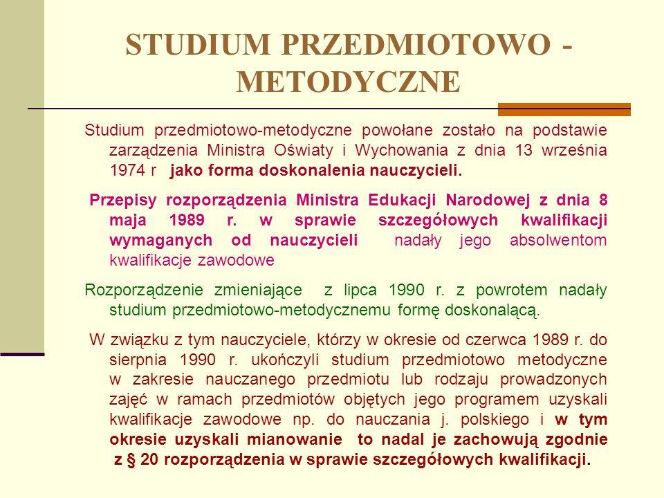 STUDIUM PRZEDMIOTOWO - METODYCZNE