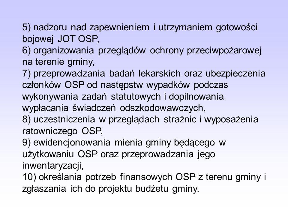 5) nadzoru nad zapewnieniem i utrzymaniem gotowości bojowej JOT OSP,