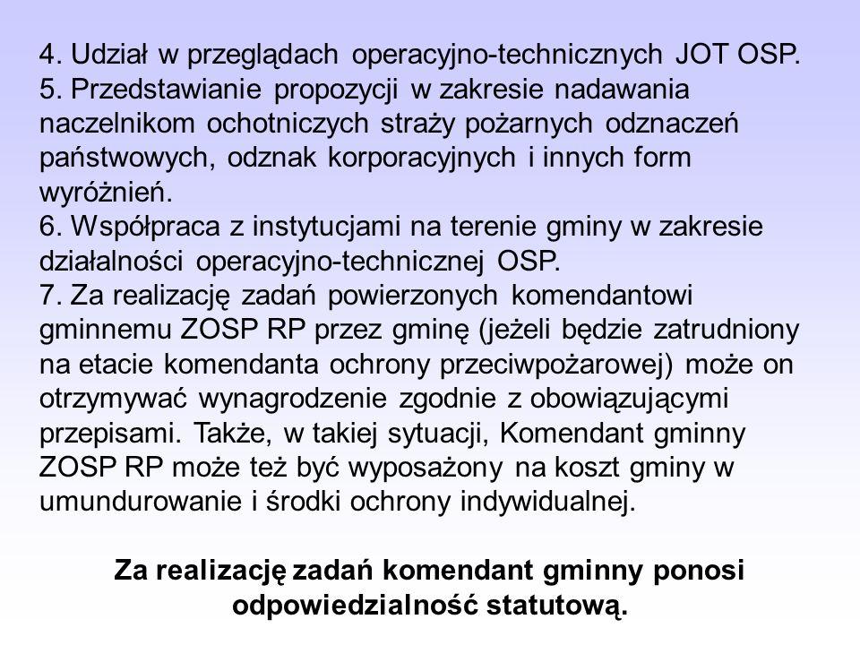 4. Udział w przeglądach operacyjno-technicznych JOT OSP.