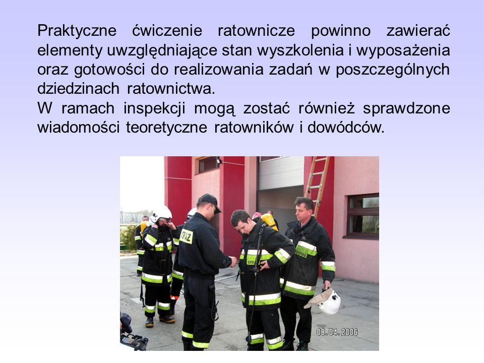 Praktyczne ćwiczenie ratownicze powinno zawierać elementy uwzględniające stan wyszkolenia i wyposażenia oraz gotowości do realizowania zadań w poszczególnych dziedzinach ratownictwa.