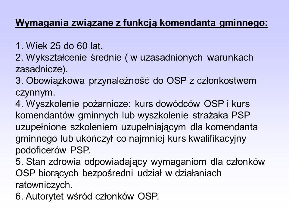 Wymagania związane z funkcją komendanta gminnego:
