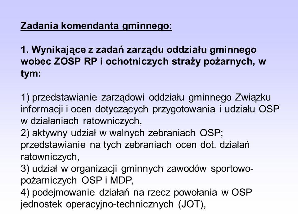 Zadania komendanta gminnego: