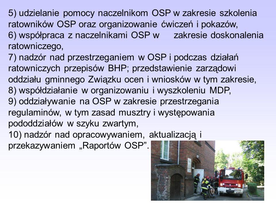 5) udzielanie pomocy naczelnikom OSP w zakresie szkolenia ratowników OSP oraz organizowanie ćwiczeń i pokazów,