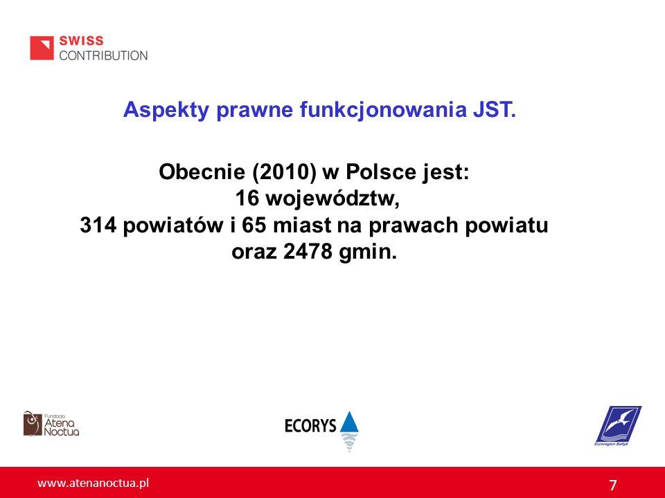 Aspekty prawne funkcjonowania JST. Obecnie (2010) w Polsce jest: