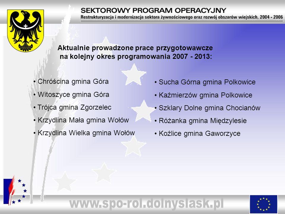 Aktualnie prowadzone prace przygotowawcze na kolejny okres programowania 2007 - 2013:
