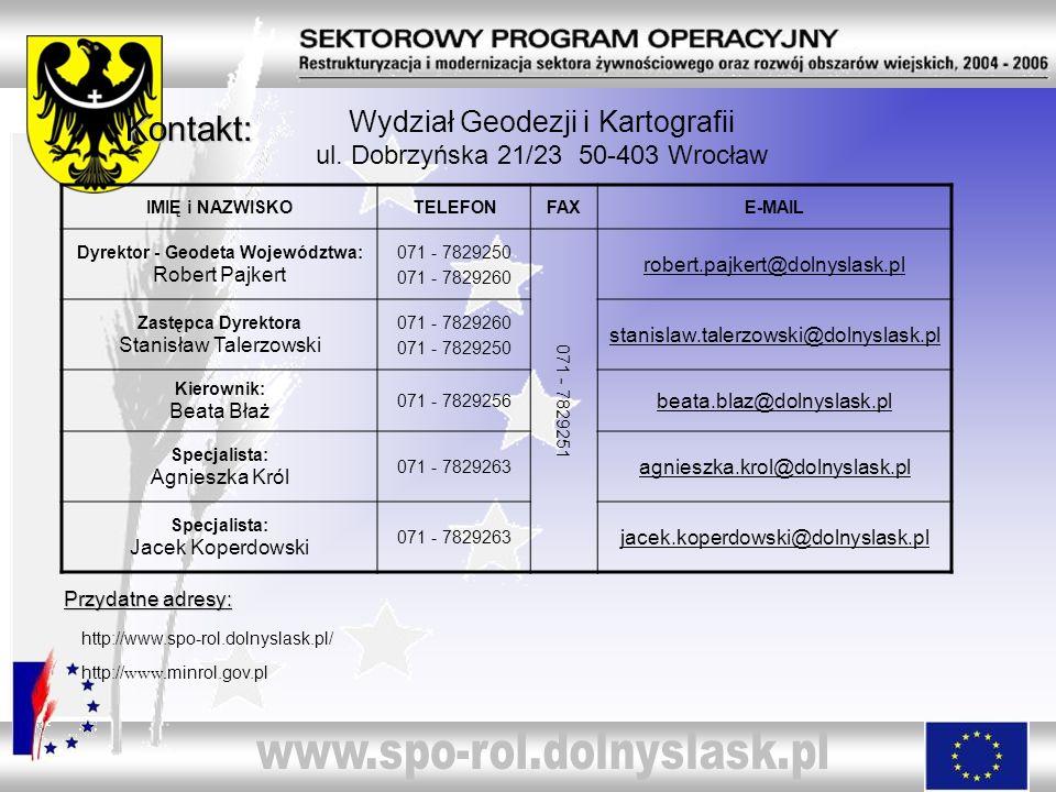 Wydział Geodezji i Kartografii ul. Dobrzyńska 21/23 50-403 Wrocław