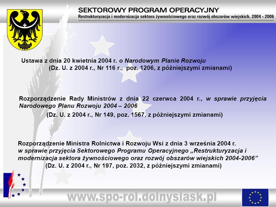 Ustawa z dnia 20 kwietnia 2004 r. o Narodowym Planie Rozwoju. (Dz. U