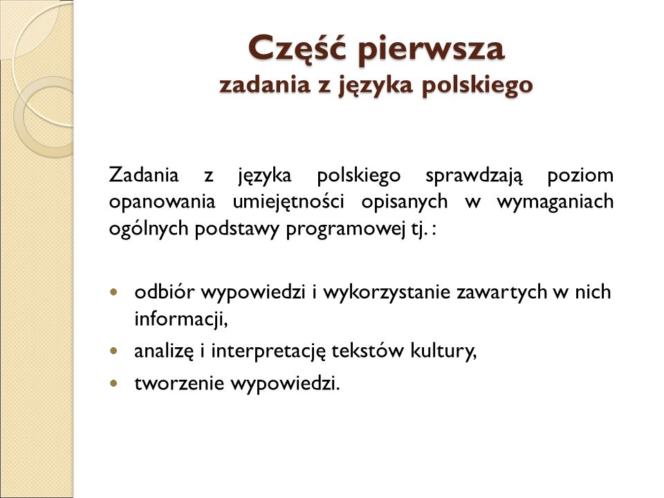 Część pierwsza zadania z języka polskiego