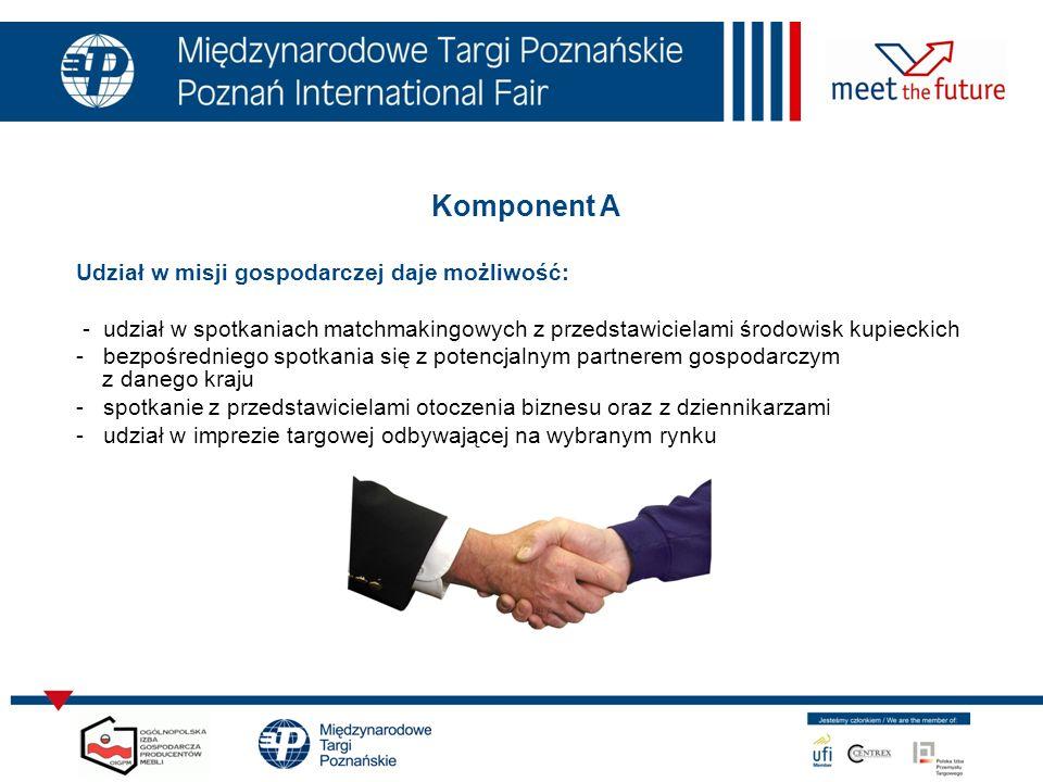 Komponent A Udział w misji gospodarczej daje możliwość: