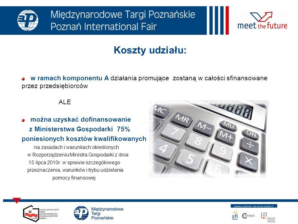Koszty udziału: w ramach komponentu A działania promujące zostaną w całości sfinansowane przez przedsiębiorców.