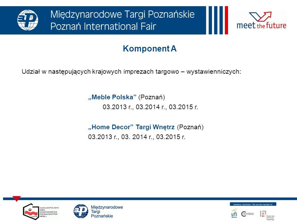 """Komponent A Udział w następujących krajowych imprezach targowo – wystawienniczych: """"Meble Polska (Poznań)"""