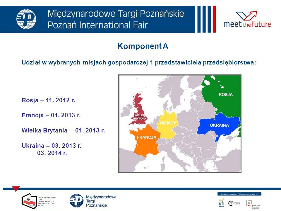 Komponent A Udział w wybranych misjach gospodarczej 1 przedstawiciela przedsiębiorstwa: Rosja – 11. 2012 r.
