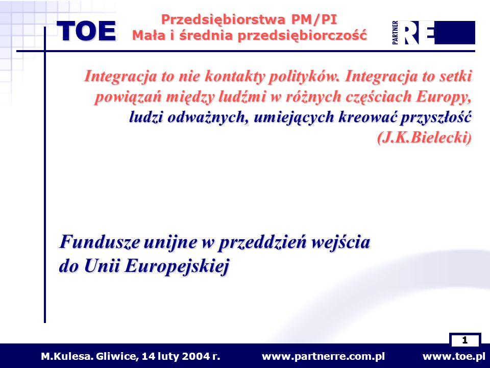 Fundusze unijne w przeddzień wejścia do Unii Europejskiej