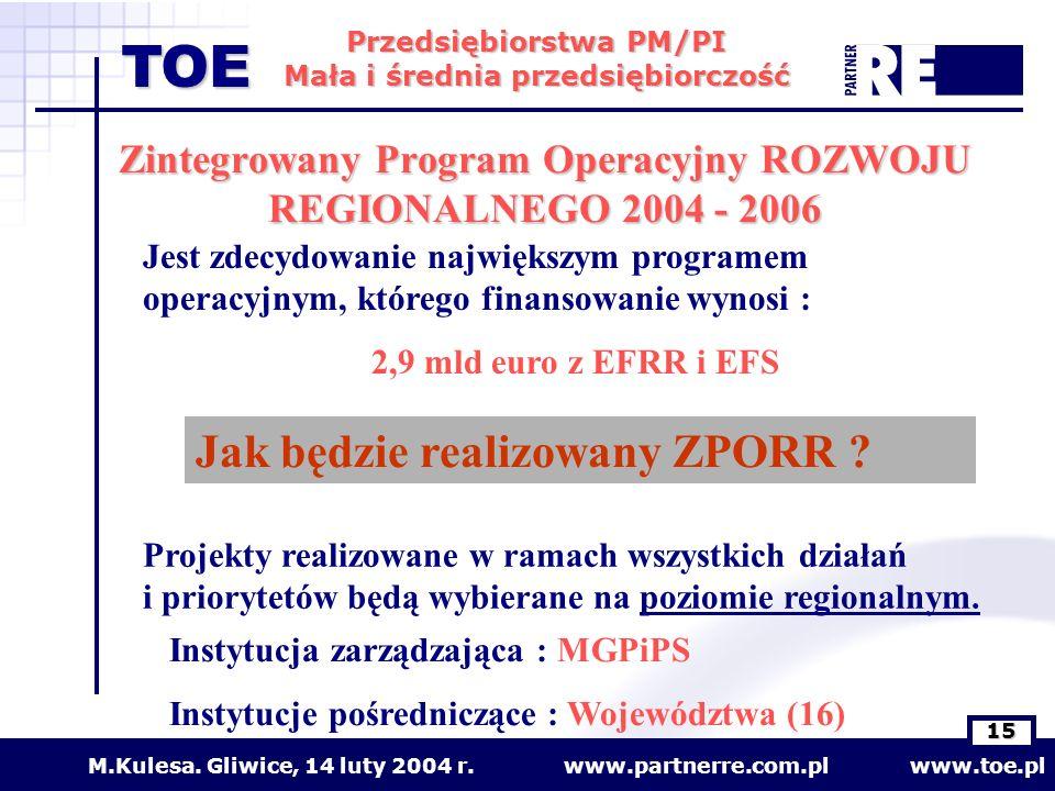 Zintegrowany Program Operacyjny ROZWOJU REGIONALNEGO 2004 - 2006