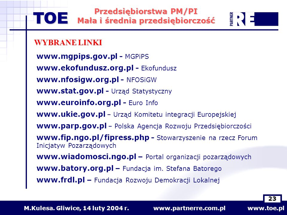 WYBRANE LINKI www.mgpips.gov.pl - MGPiPS