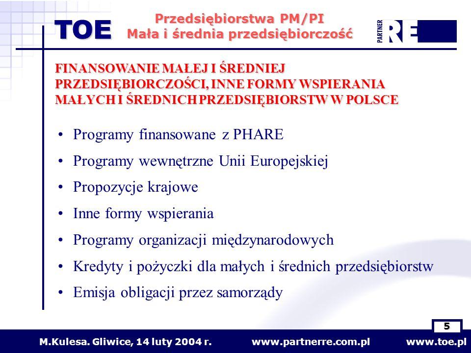 Programy finansowane z PHARE Programy wewnętrzne Unii Europejskiej