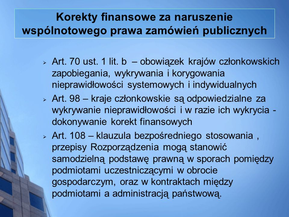 Korekty finansowe za naruszenie wspólnotowego prawa zamówień publicznych