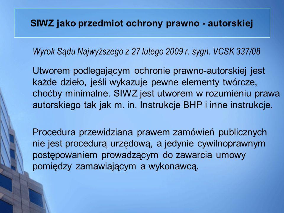 SIWZ jako przedmiot ochrony prawno - autorskiej