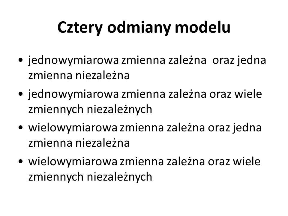 Cztery odmiany modelujednowymiarowa zmienna zależna oraz jedna zmienna niezależna. jednowymiarowa zmienna zależna oraz wiele zmiennych niezależnych.