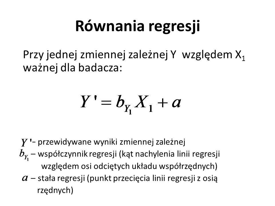Równania regresji Przy jednej zmiennej zależnej Y względem X1 ważnej dla badacza: – przewidywane wyniki zmiennej zależnej.