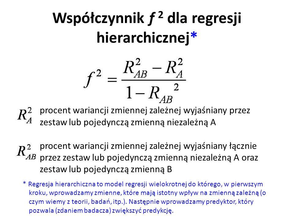 Współczynnik f 2 dla regresji hierarchicznej*
