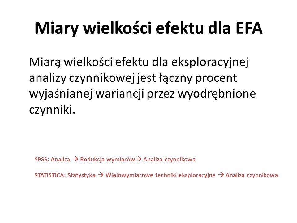 Miary wielkości efektu dla EFA