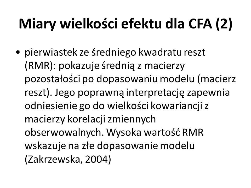 Miary wielkości efektu dla CFA (2)