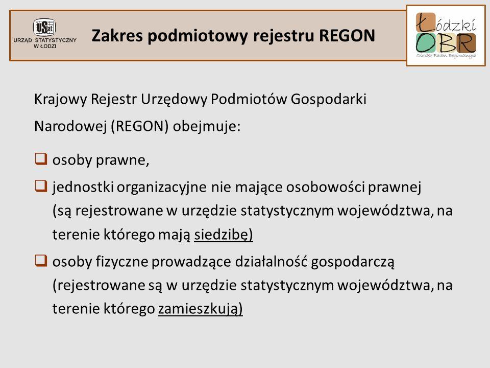 Zakres podmiotowy rejestru REGON