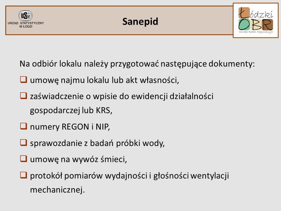 Sanepid Na odbiór lokalu należy przygotować następujące dokumenty: