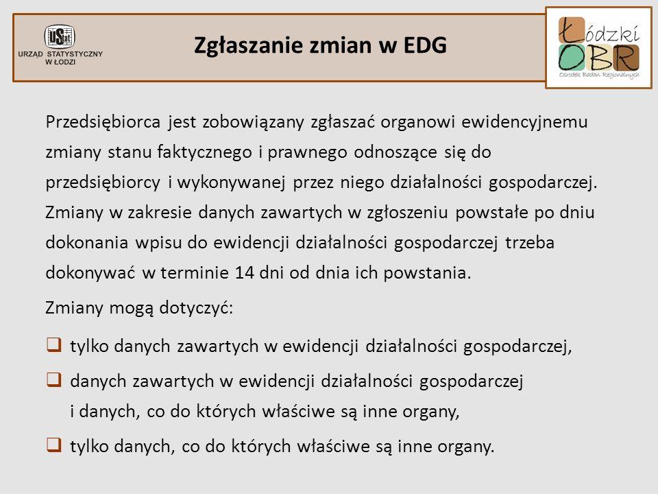 Zgłaszanie zmian w EDG