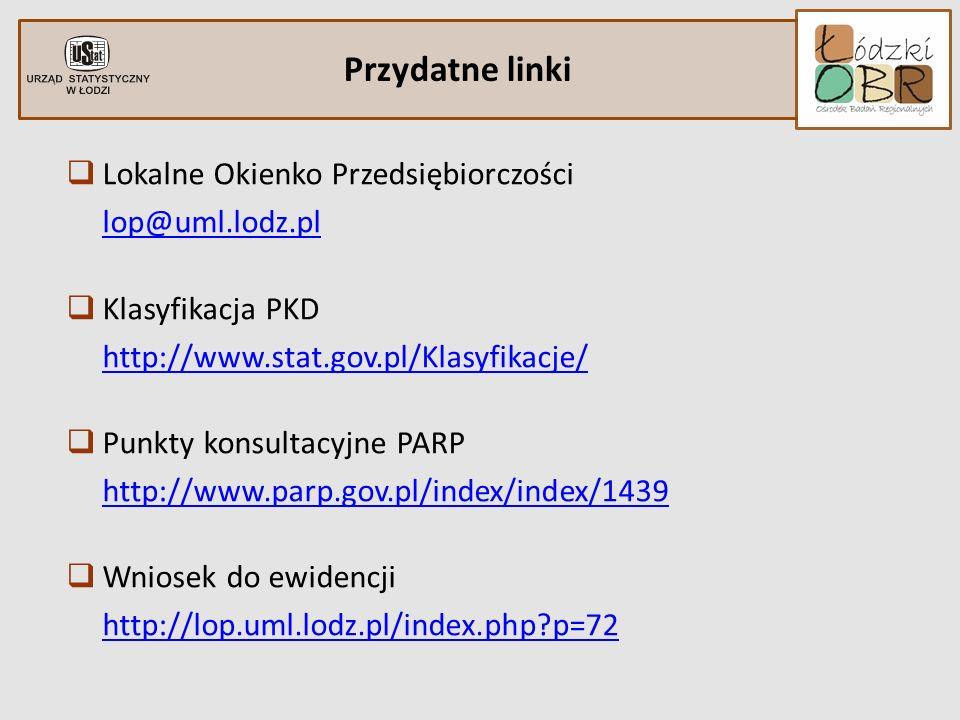 Przydatne linki Lokalne Okienko Przedsiębiorczości lop@uml.lodz.pl