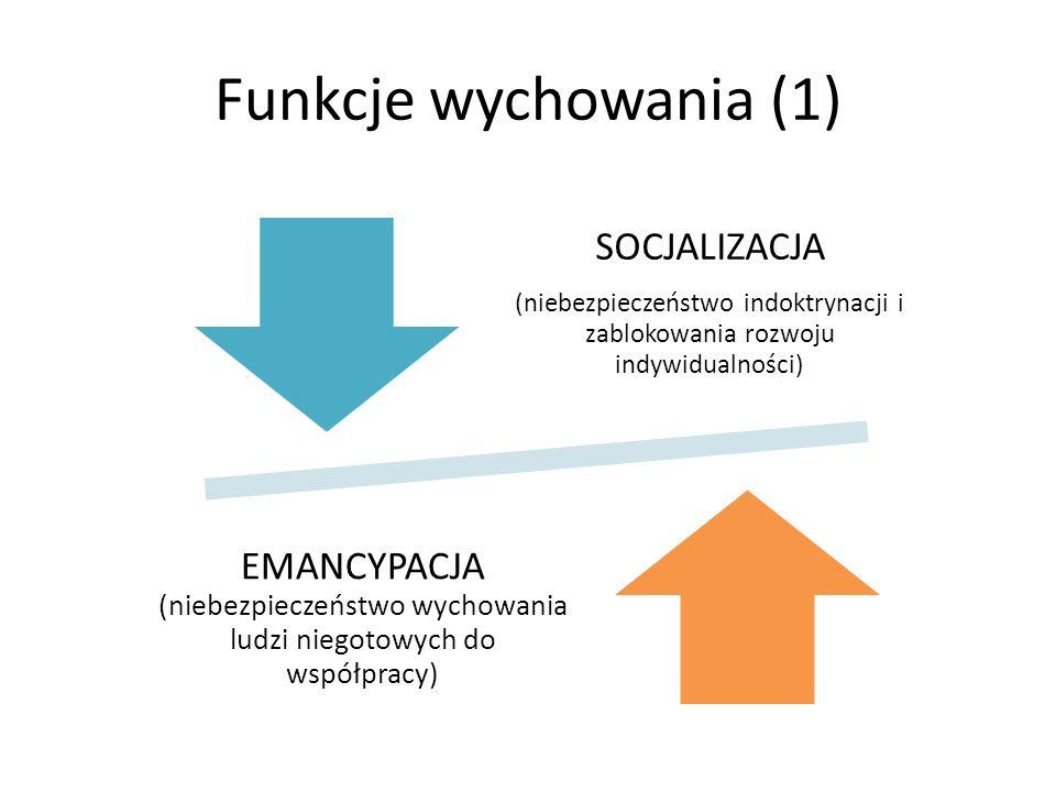 Funkcje wychowania (1) SOCJALIZACJA. (niebezpieczeństwo indoktrynacji i zablokowania rozwoju indywidualności)