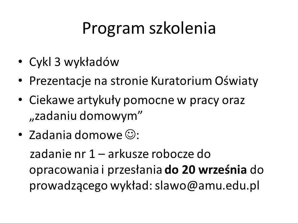 Program szkolenia Cykl 3 wykładów
