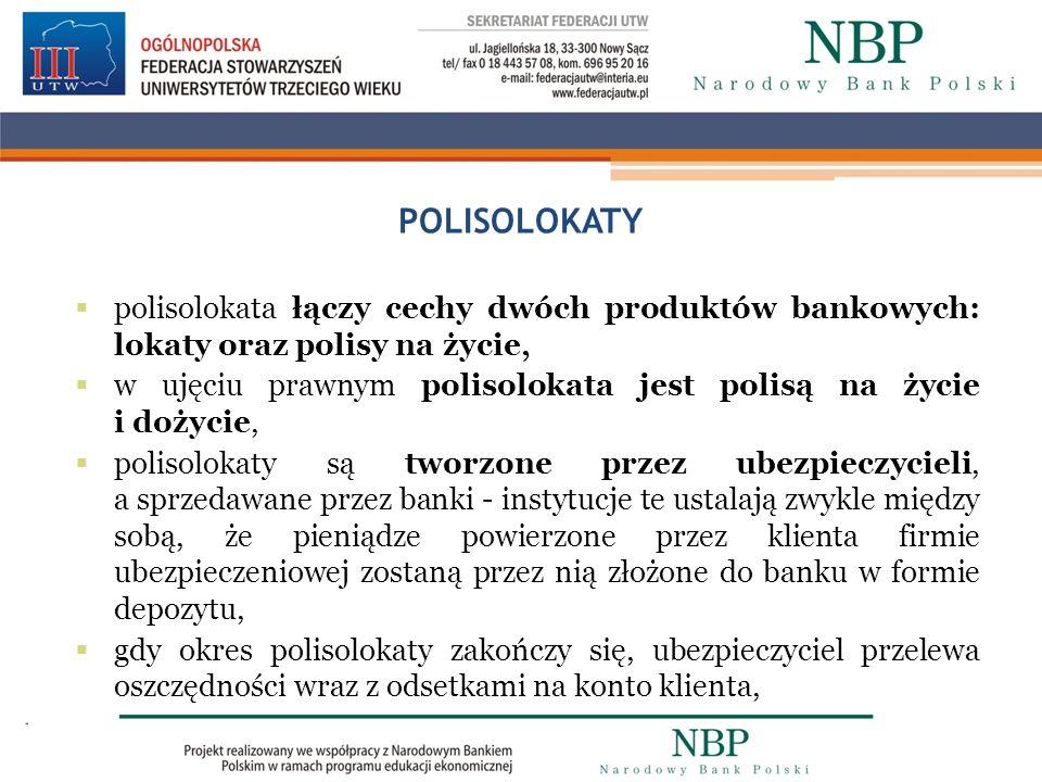 POLISOLOKATY polisolokata łączy cechy dwóch produktów bankowych: lokaty oraz polisy na życie,