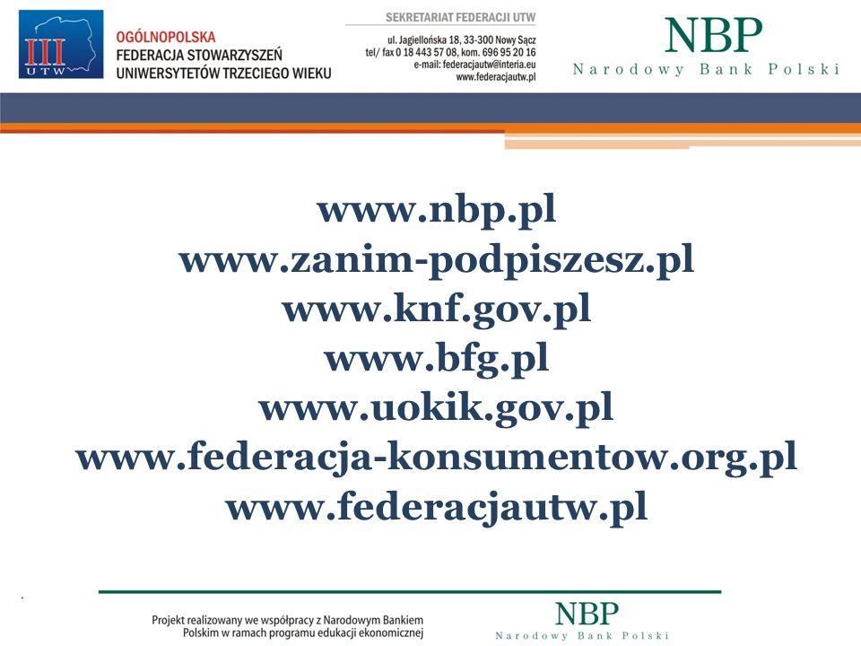 www. nbp. pl www. zanim-podpiszesz. pl www. knf. gov. pl www. bfg
