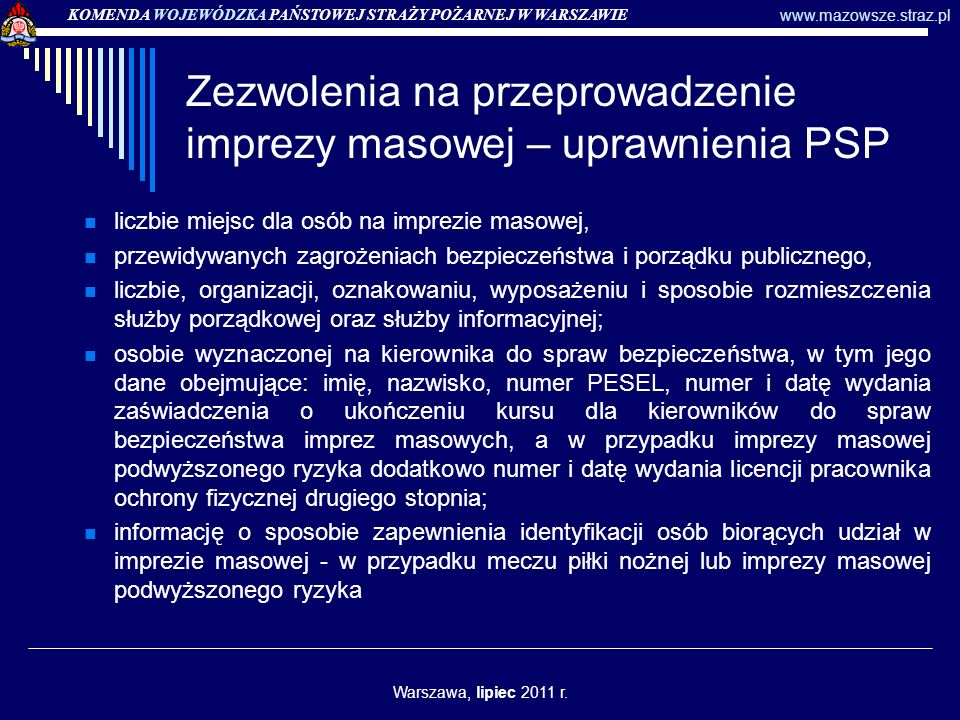 Zezwolenia na przeprowadzenie imprezy masowej – uprawnienia PSP