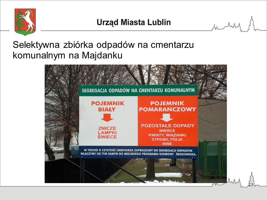 Selektywna zbiórka odpadów na cmentarzu komunalnym na Majdanku
