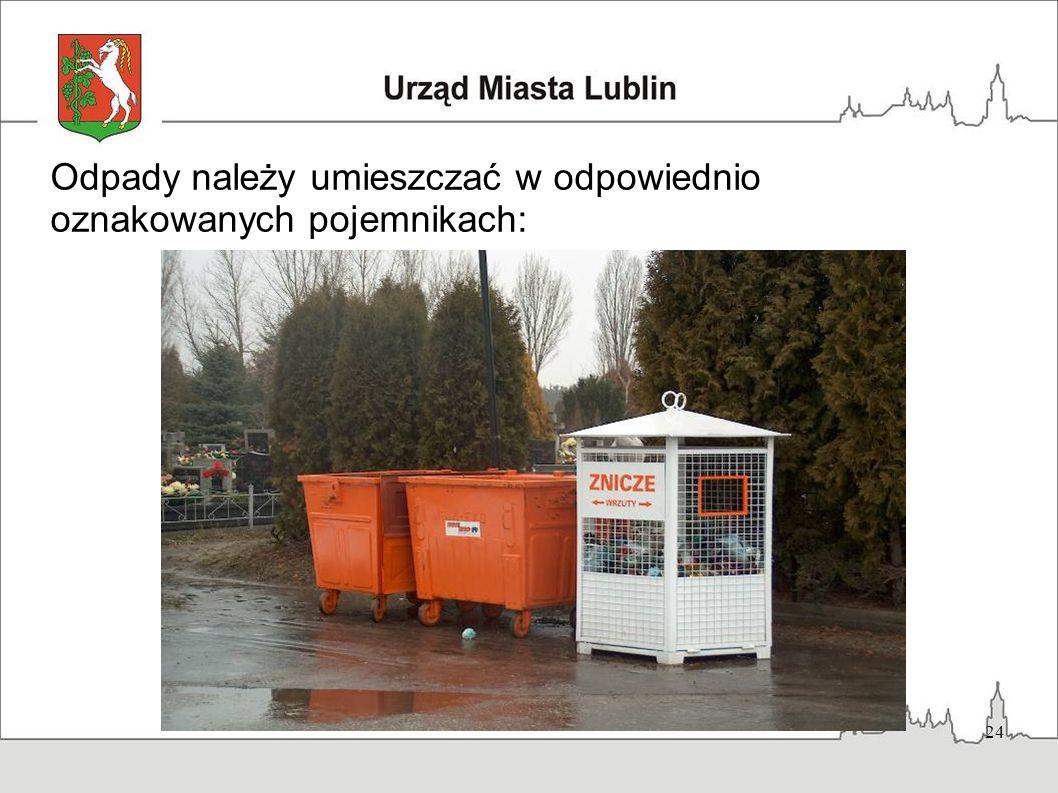 Odpady należy umieszczać w odpowiednio oznakowanych pojemnikach: