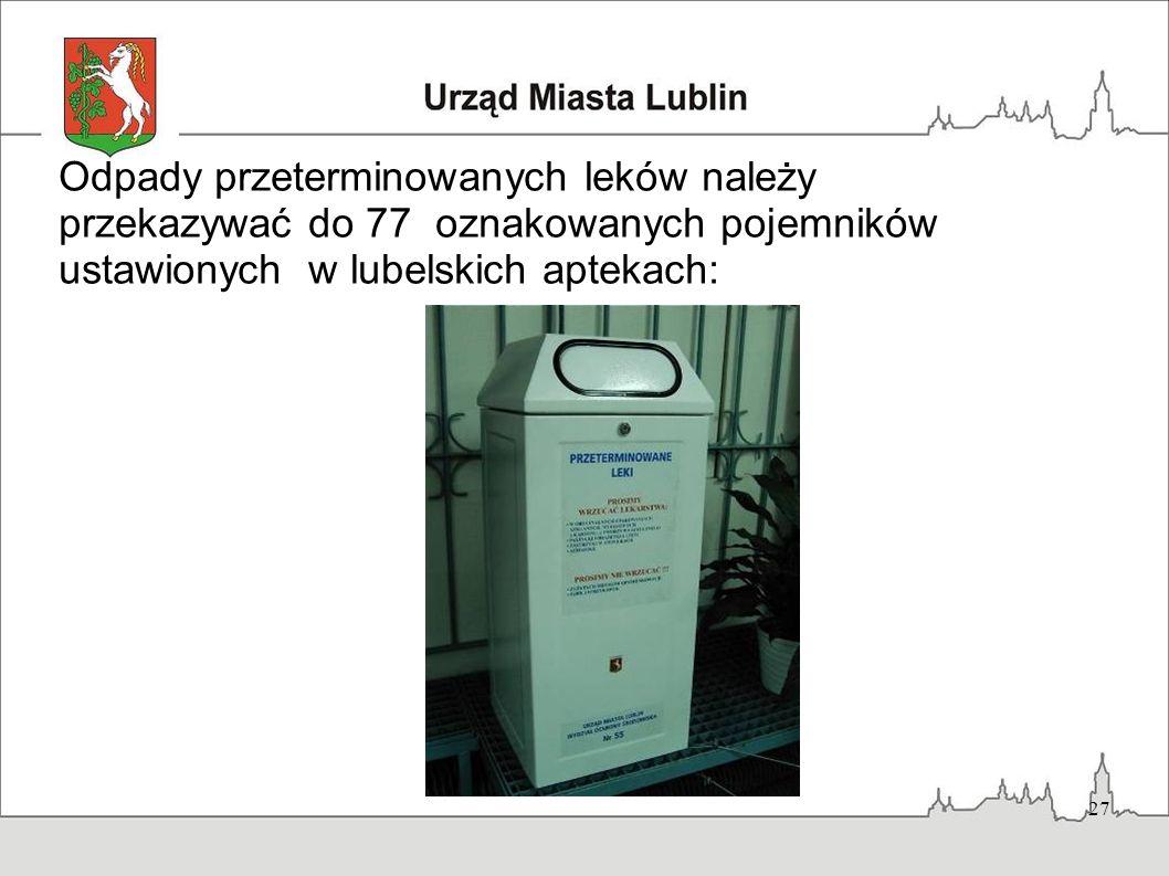 Odpady przeterminowanych leków należy przekazywać do 77 oznakowanych pojemników ustawionych w lubelskich aptekach: