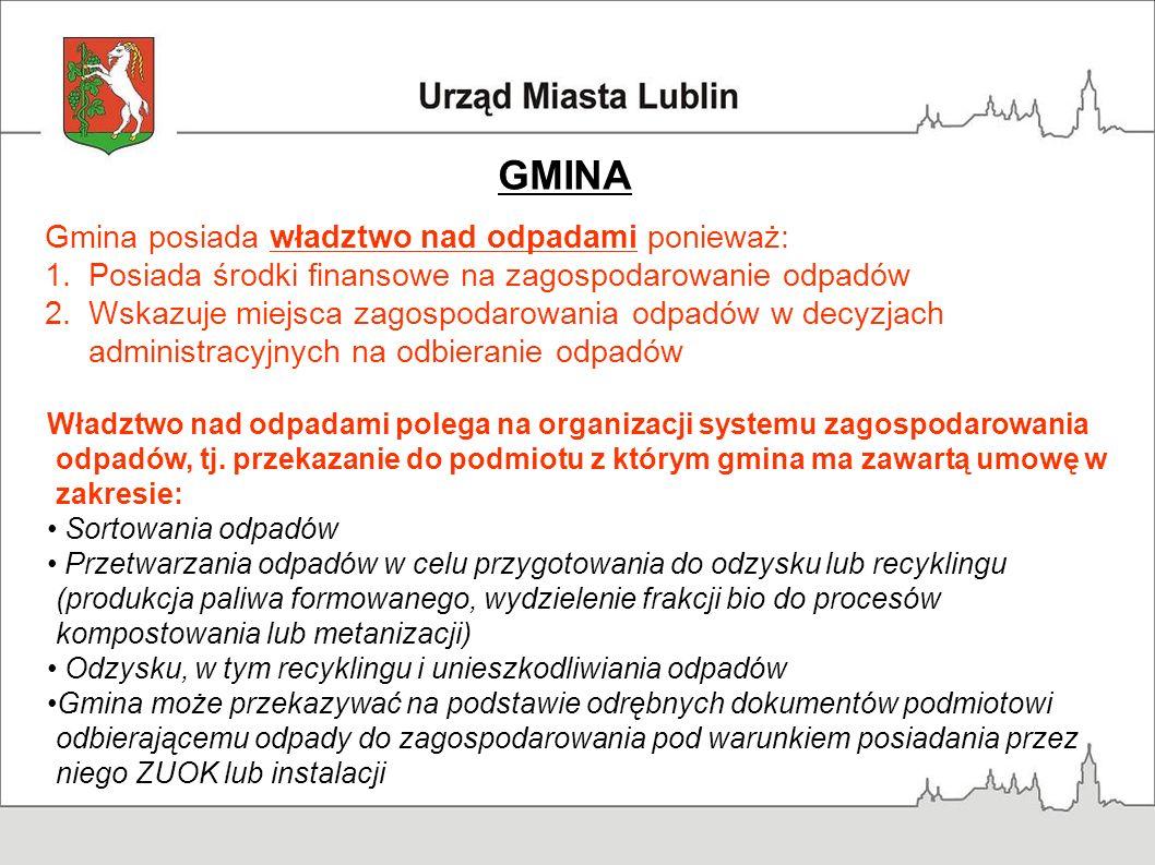 GMINA Gmina posiada władztwo nad odpadami ponieważ: