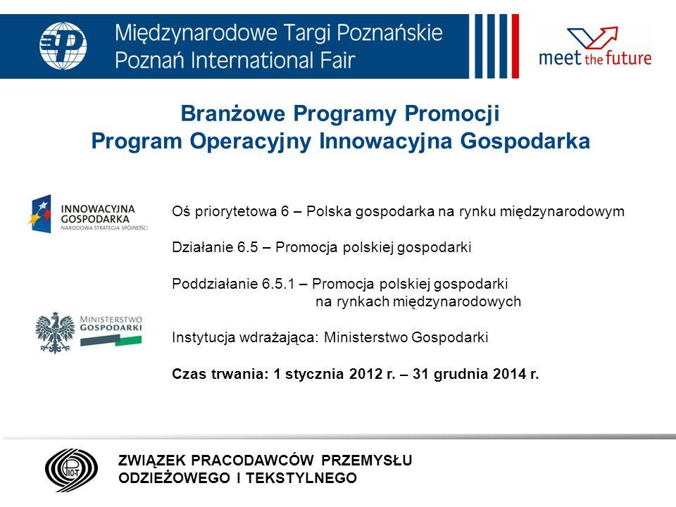Branżowe Programy Promocji Program Operacyjny Innowacyjna Gospodarka