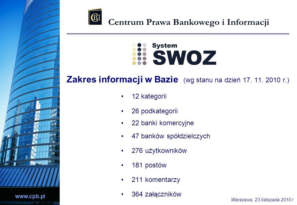 Zakres informacji w Bazie (wg stanu na dzień 17. 11. 2010 r.)