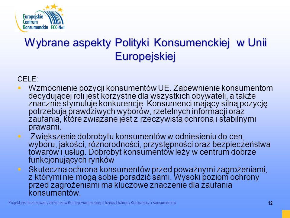 Wybrane aspekty Polityki Konsumenckiej w Unii Europejskiej