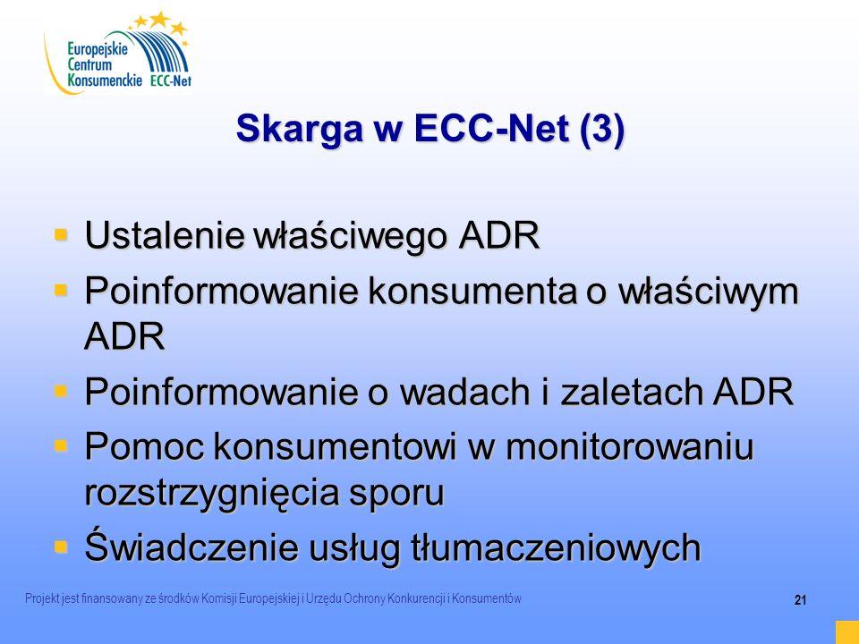 Ustalenie właściwego ADR Poinformowanie konsumenta o właściwym ADR