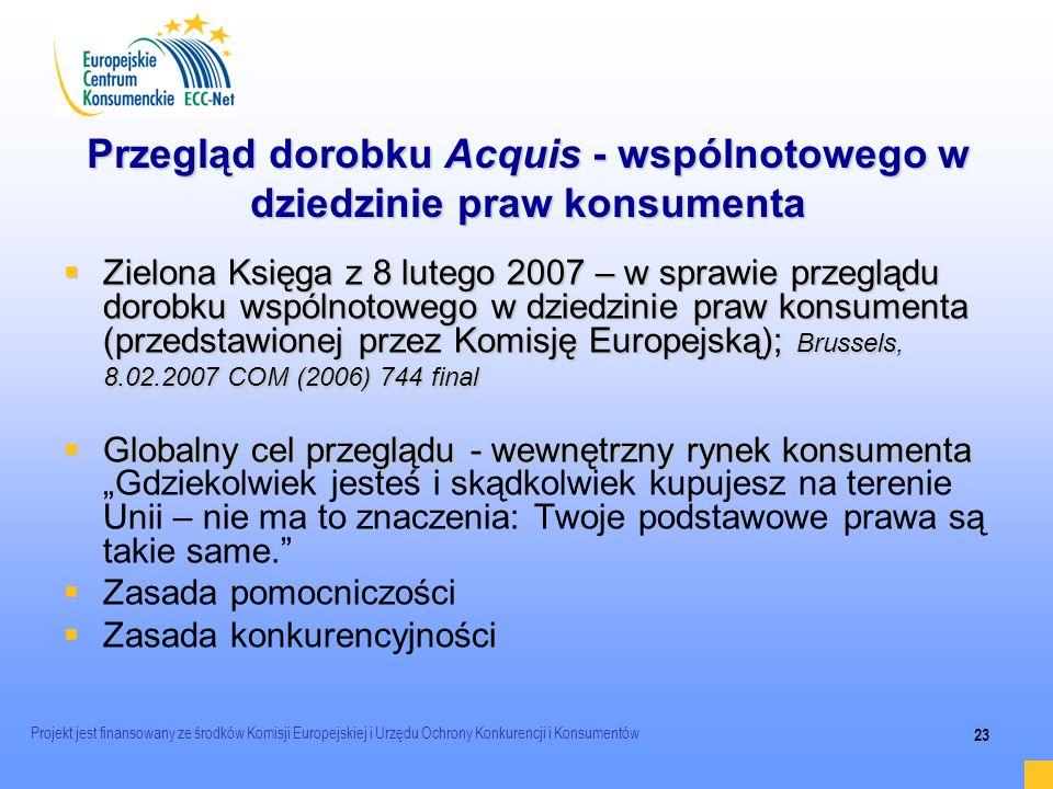 Przegląd dorobku Acquis - wspólnotowego w dziedzinie praw konsumenta