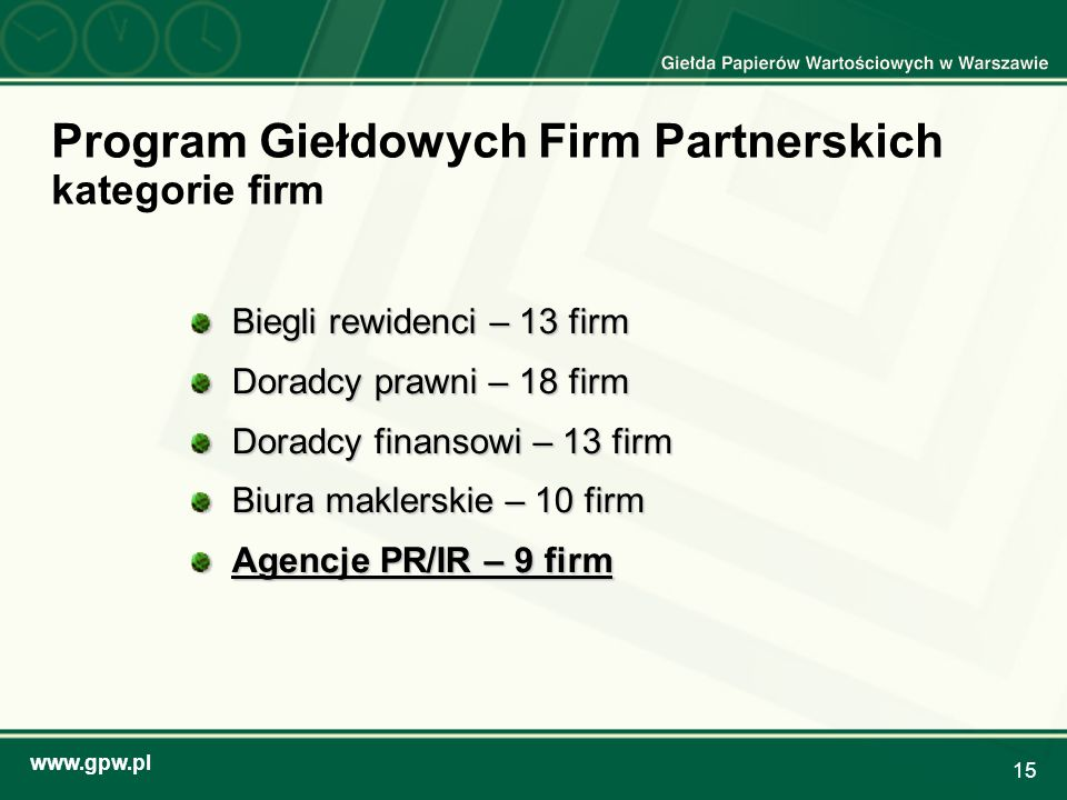 Program Giełdowych Firm Partnerskich kategorie firm