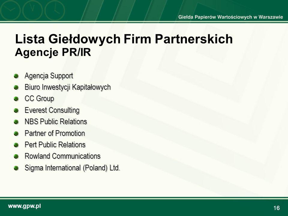 Lista Giełdowych Firm Partnerskich Agencje PR/IR