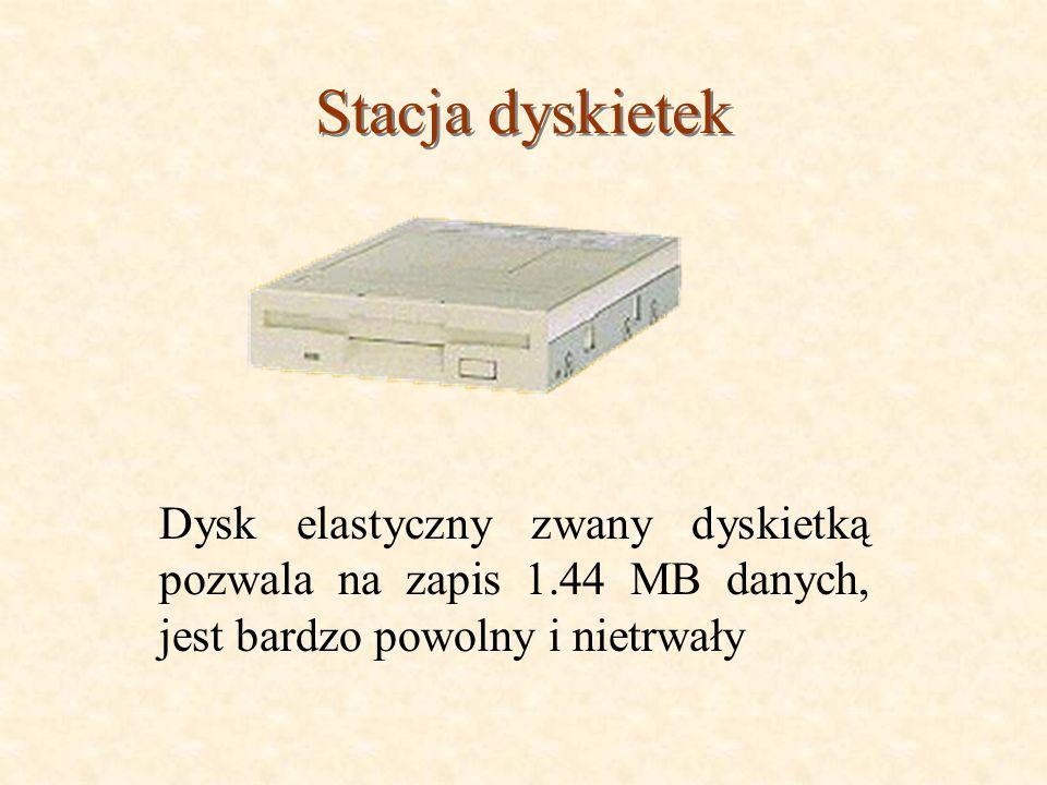 Stacja dyskietek Dysk elastyczny zwany dyskietką pozwala na zapis 1.44 MB danych, jest bardzo powolny i nietrwały.